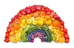 assiette de fruits et légumes colorées arc en ciel